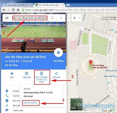 cach di chuyen ket qua tim kiem tu google map từ PC sang dien thoai