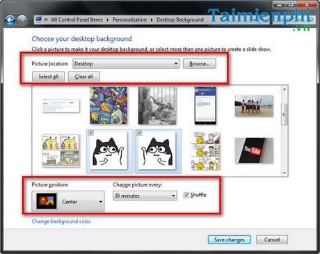 Đổi hình nền máy tính win 7, thay ảnh màn hình destop, laptop Windows 7 2