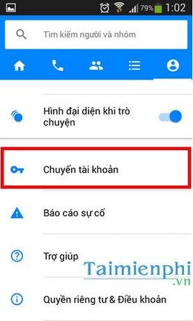 Đổi tài khoản Facebook, Chuyển tài khoản Facebook trực tiếp trên Android