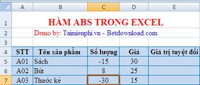 ham abs trong excel