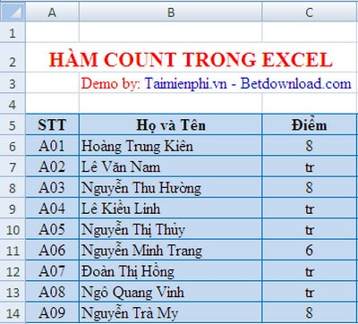 ham count trong excel