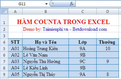 ham counta trong excel