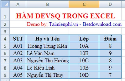 dung ham devsq trong excel