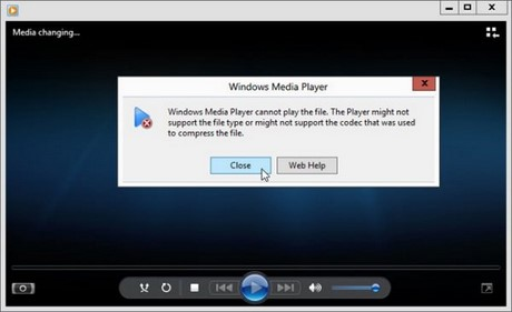 fix loi Windows Media Player cannot play the file