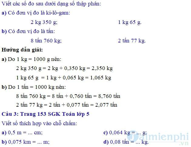 giai bai tap toan 5 trang 153 154 sgk on tap ve do do dai va khoi luong tiep