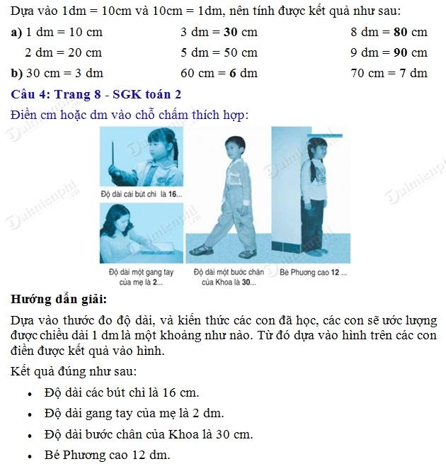 giai toan 2 trang 8 sgk luyen tap de xi met 2