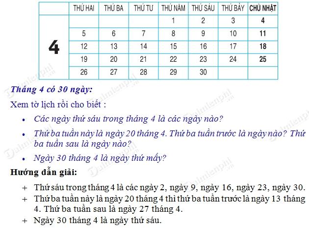 giai toan 2 trang 80 sgk thuc hanh xem lich 2