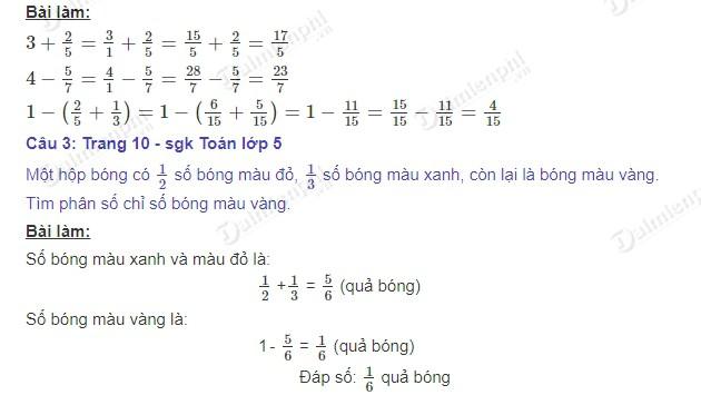giai toan 5 trang 10 sgk on tap phep cong va phep tru hai phan so 2