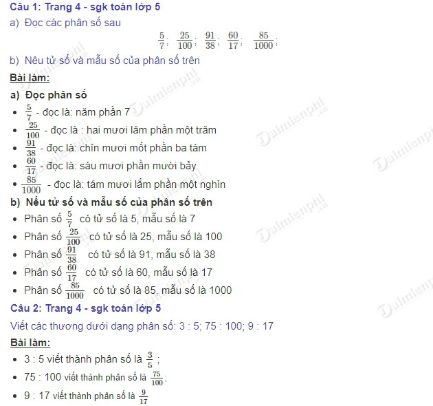 giai toan 5 trang 4 sgk on tap khai niem ve phan so 2
