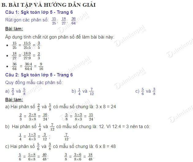 giai toan 5 trang 6 sgk on tap tinh chat co ban cua phan so 2