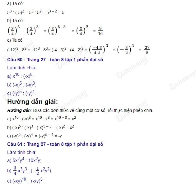 giai toan 8 trang 26 27 sgk tap 1 chia don thuc cho don thuc 2