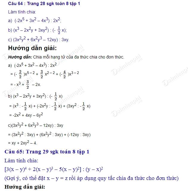 giai toan 8 trang 28 29 sgk tap 1 chia da thuc cho don thuc 2