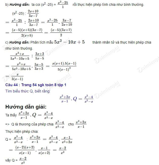 giai toan 8 trang 54 55 sgk tap 1 phep chia cac phan thuc dai so 2