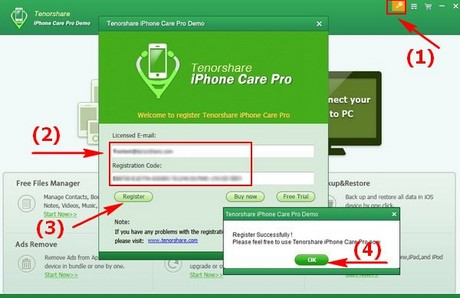 Register the right name tenorshare iphone care pro