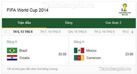 lich thi dau world cup 2014 theo ngay tren google search