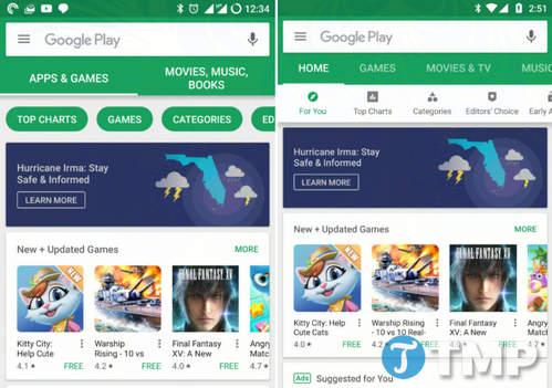 Google dang thu nghiem thiet ke lai Play Store