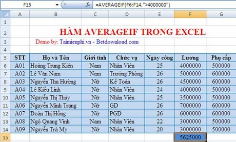 ham averageif trong excel