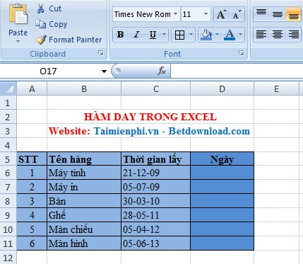 ham day trong excel
