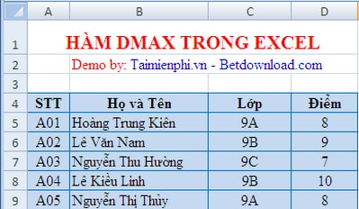 ham dmax trong excel