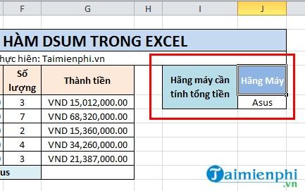 Hàm Dsum trong Excel 1