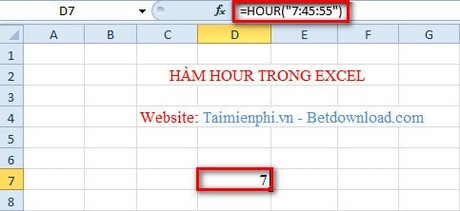 ham hour trong excel