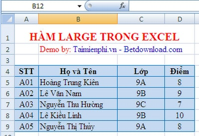 Ham large trong excel