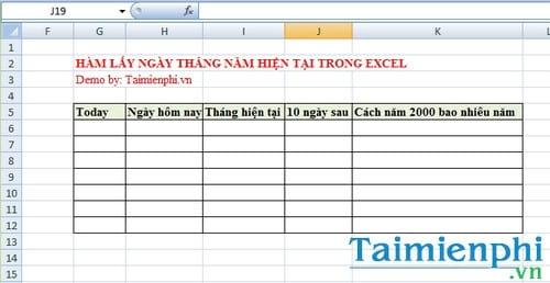 Hàm lấy ngày tháng năm hiện tại trong Excel là hàm nào? 1