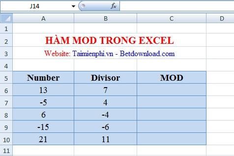 Excel - Hàm MOD, Hàm trả về số dư, Ví dụ minh họa 1