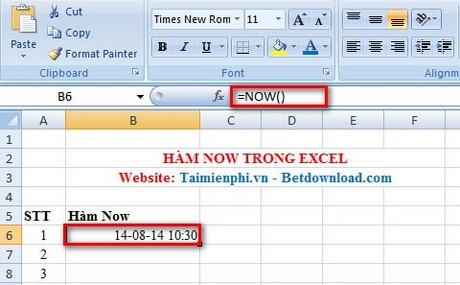 Ham TODAY Ham lay gio hien tai trong Excel