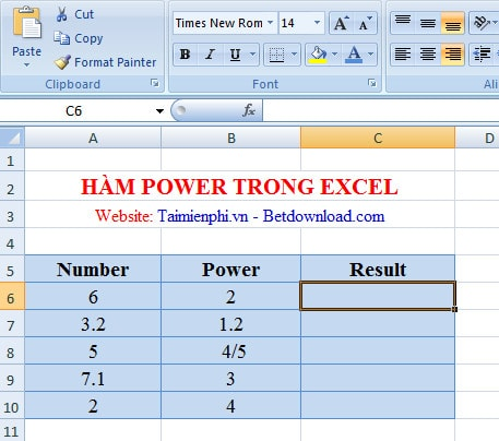 ham power trong excel