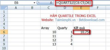 ham QUARTILE Excel