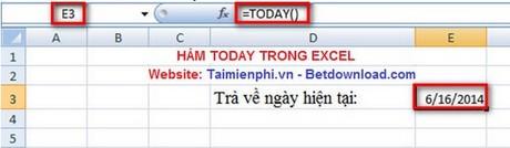 Excel - Hàm TODAY, Hàm trả về ngày hiện tại, Ví dụ minh họa 1