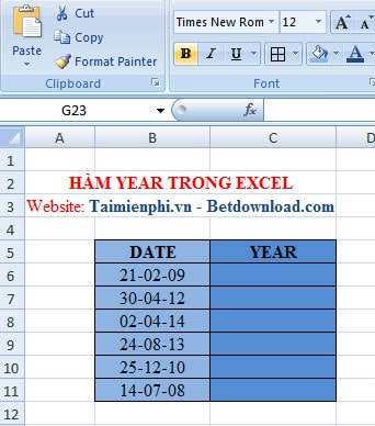 Excel - Hàm YEAR, Hàm cho giá trị là năm của biểu thức số 1