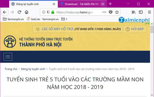 huong dan dang ky tuyen sinh vao cac truong mam non nam hoc 2018 2019 2