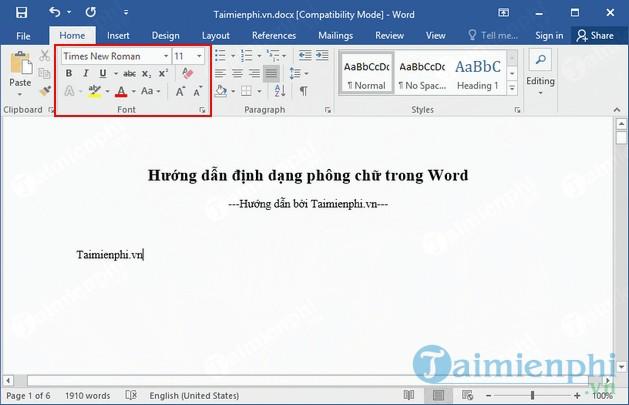 huong dan dinh dang phong chu trong word 2