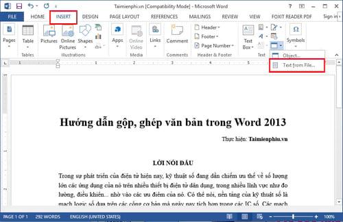 huong dan gop ghep van ban trong word 2013 2