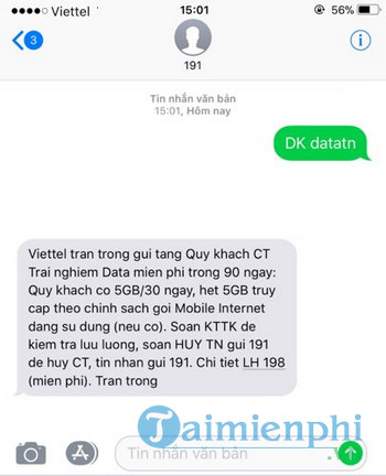 huong dan nhan 15gb data 4g mien phi cho so dien thoai viettel 2