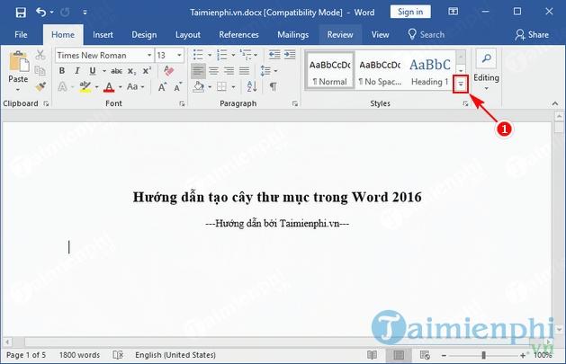 huong dan tao cay thu muc trong word 2016 2