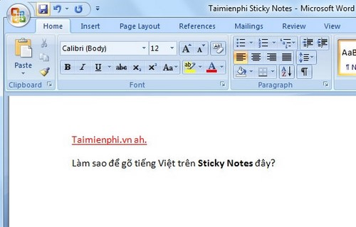 go tieng viet trong sticky notes