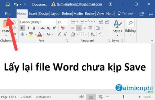 Lấy lại file Word, Excel, PowerPoint chưa kịp lưu