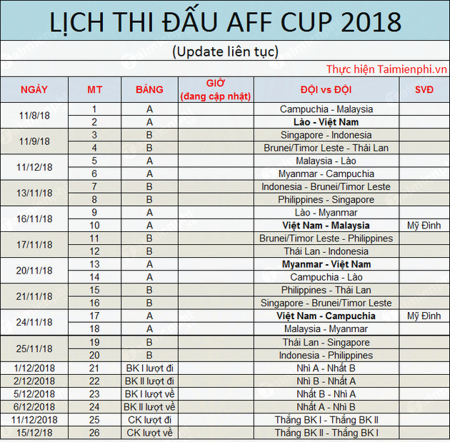 2018's first aff cup competition schedule