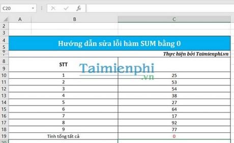 Sửa lỗi hàm sum bằng 0 trong Excel 4