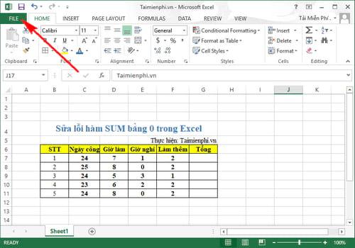 Sửa lỗi hàm sum bằng 0 trong Excel 1