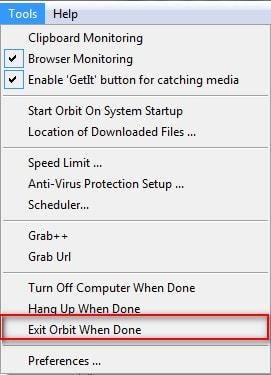 Orbit Downloader - Tắt máy tính sau khi quá trình donwload hoàn tất