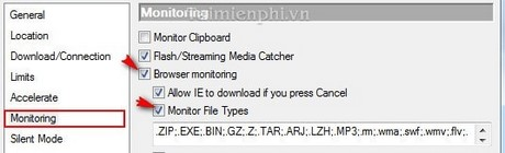 Orbit Downloader - Thêm định dạng file để download