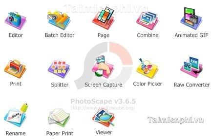 Đổi giao diện menu PhotoScape, phần mềm ghép ảnh, chỉnh sửa ảnh