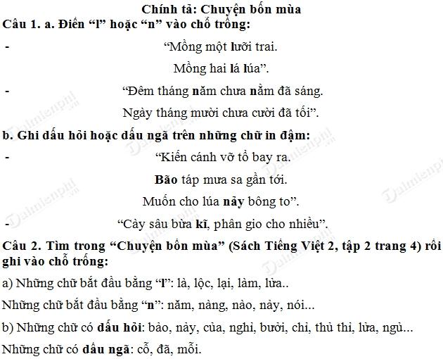 soan bai chuyen bon mua tieng viet lop 2