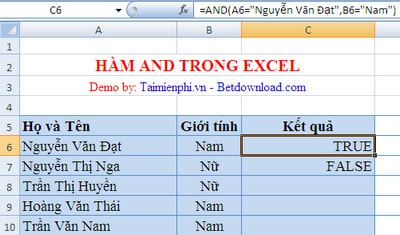 ham and trong excel