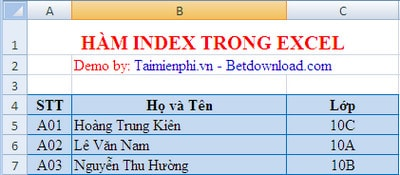 ham index trong excel