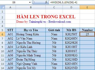 Excel - Hàm LEN, hàm đo độ dài của chuỗi ký tự 1